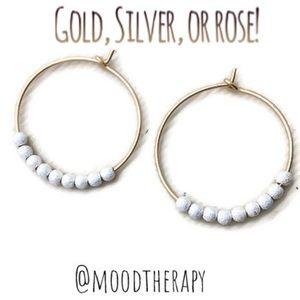 Silver Stardust Beaded Hoop Earrings
